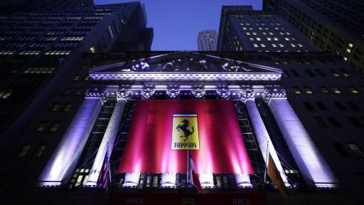 b26d4d4b The front of the New York Stock Exchange is decorated with a Ferrari banner  in honour