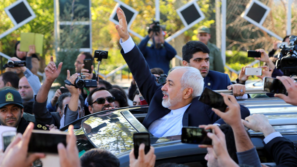 ee881cbca4 Iranian Foreign Minister Mohammad Javad Zarif greets people as the nuclear  negotiating committee arrives in Tehran