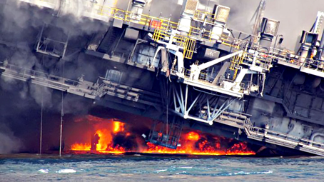 e4c0d0d7ea30 The off shore oil rig Deepwater Horizon burns in the Gulf of Mexico on  April 21