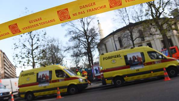 386c00fc876 Security personnel and ambulance in position around Brussels  Great Mosque  after a suspicious package was