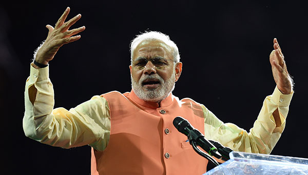 Prime Minister Narendra Modi of India speaks to supporters during a  community reception September 28, 3dd0cc8cbc