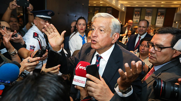 Andrés Manuel López Obrador speaks to the press after a conference in Mexico City, Mexico on May 17, 2018.