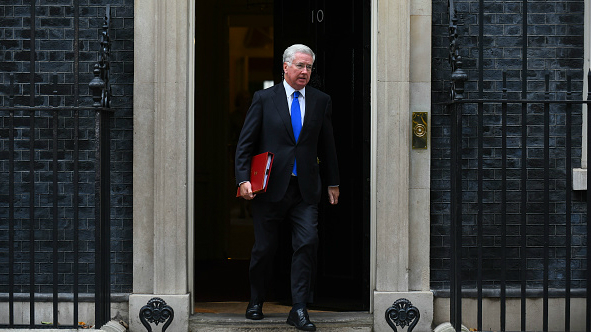 Then still serving Defence Secretary Michael Fallon leaves 10 Downing Street on 24 October 2017 as rumours began to emerge