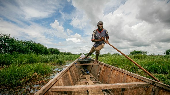 A boatman pushes his boat through tall grass near Guité in the overgrown Lake Chad. The lake's surface area has shrunk by 90% in the last century.