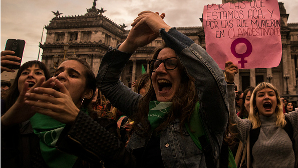 Thousands of women march to demand legal, safe abortions in Buenos Aires, Argentina, on September 29, 2017.