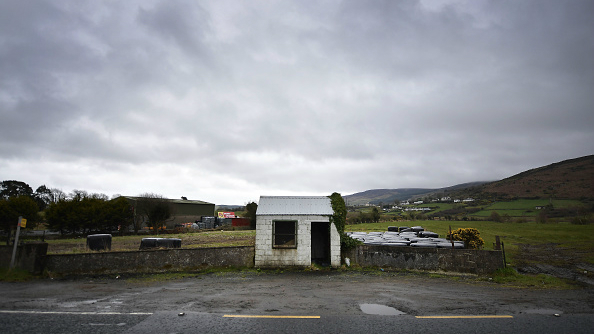 A former customs guard hut situated on the Irish border stands disused
