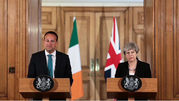 Irish prime minister Leo Varadkar and British prime minister Theresa May pause during a news conference at 10 Downing Street