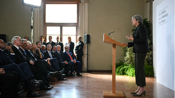British Prime Minister Theresa May gives her landmark Brexit speech in Florence on September 22, 2017