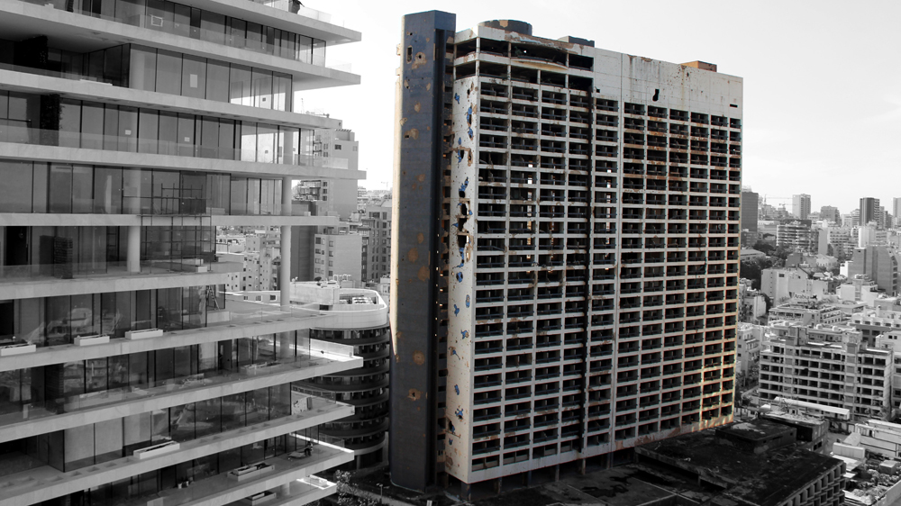 A view of the Holiday Inn in Beirut