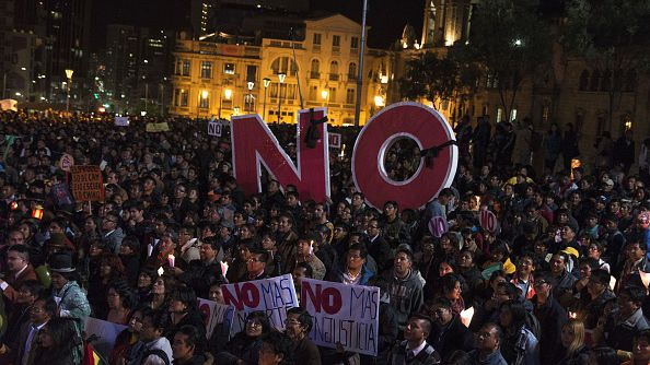 Rallies against the proposed change to the constitution have drawn large crowds in the capital La Paz