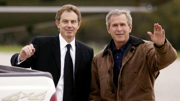 Tony Blair (L) visited George W. Bush at his ranch in Crawford, Texas, in April 2002