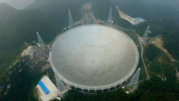 The largest radio telescope on its first day of use in southern China