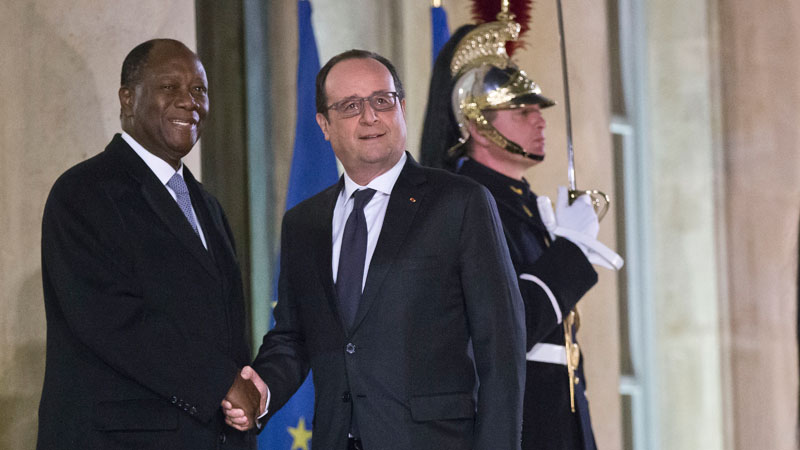 Ivorian President Alassane Ouattara and French President Francois Hollande meeting at the Elysee Palace in Paris on February 4