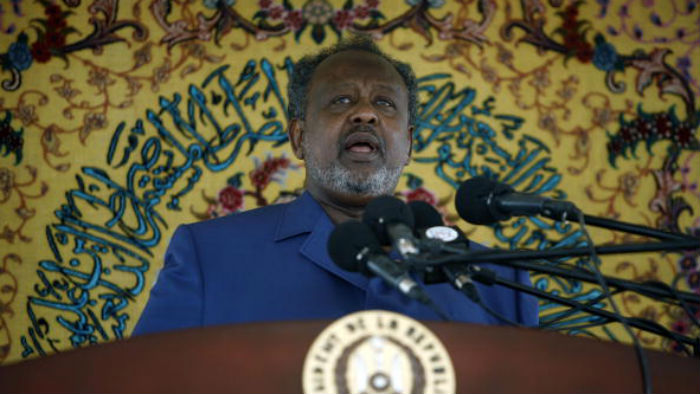 President Ismail Omar Guelleh gives a speech during the 30th anniversary of Djibouti's independence, on June 27, 2007