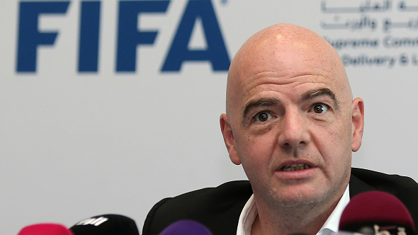 FIFA President Gianni Infantino speaks during a press conference in the Qatari capital Doha, on April 22, 2016