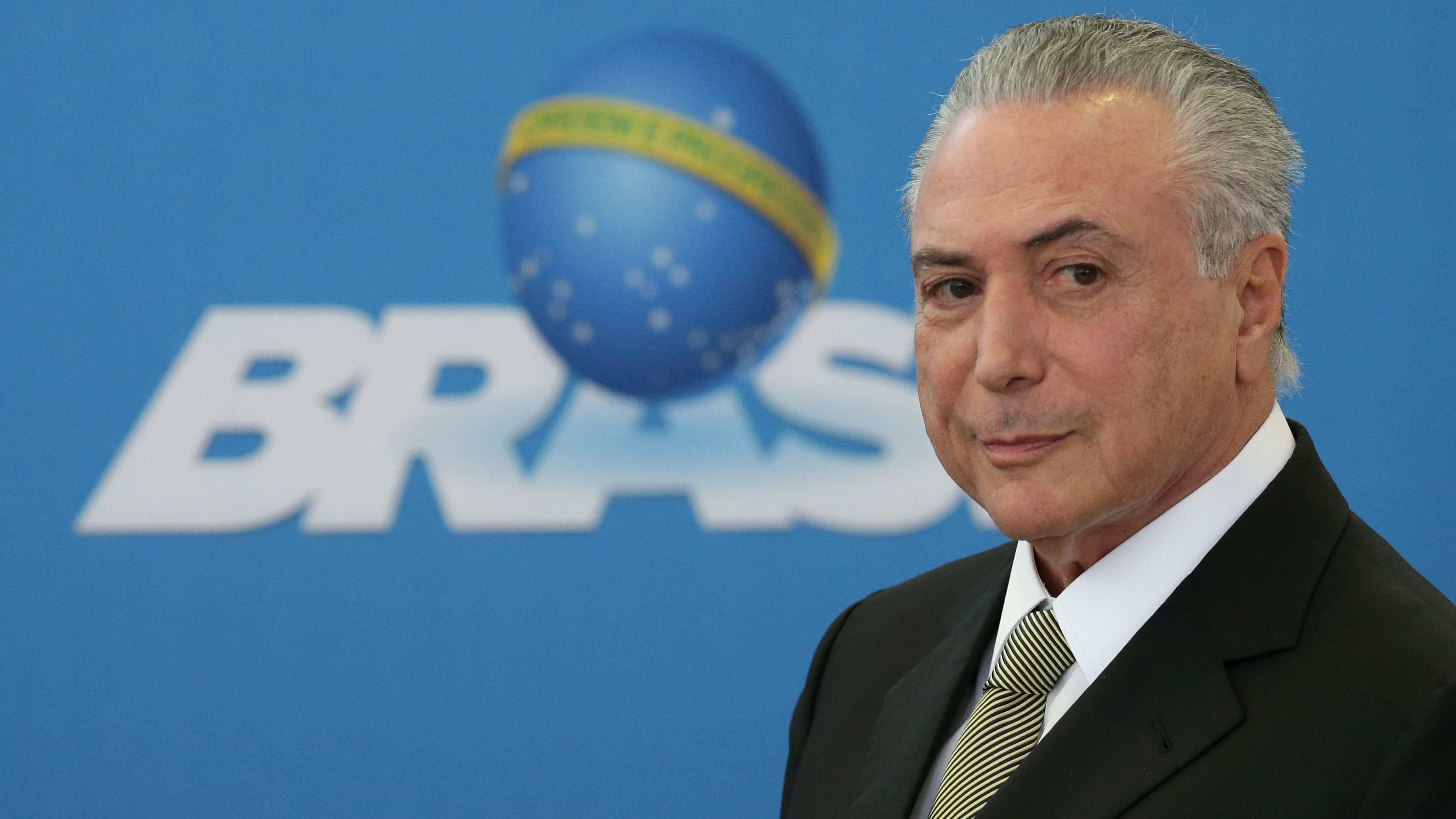 Mr. Temer arrives for the inauguration of the new presidents of state companies in Brasilia on June 1