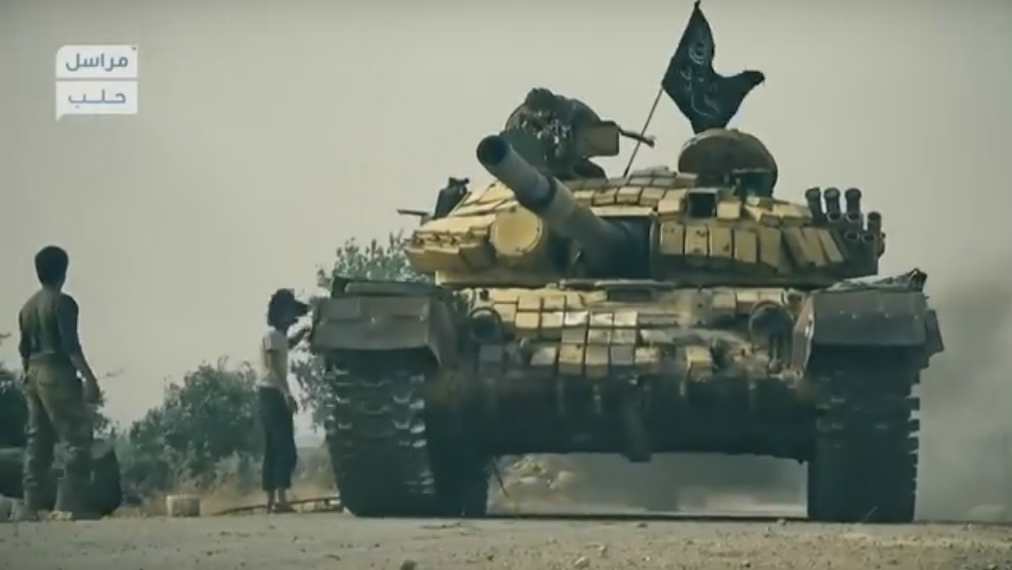A tank seized by Jabhat al-Nusra is seen in a propaganda video posted in June 2016