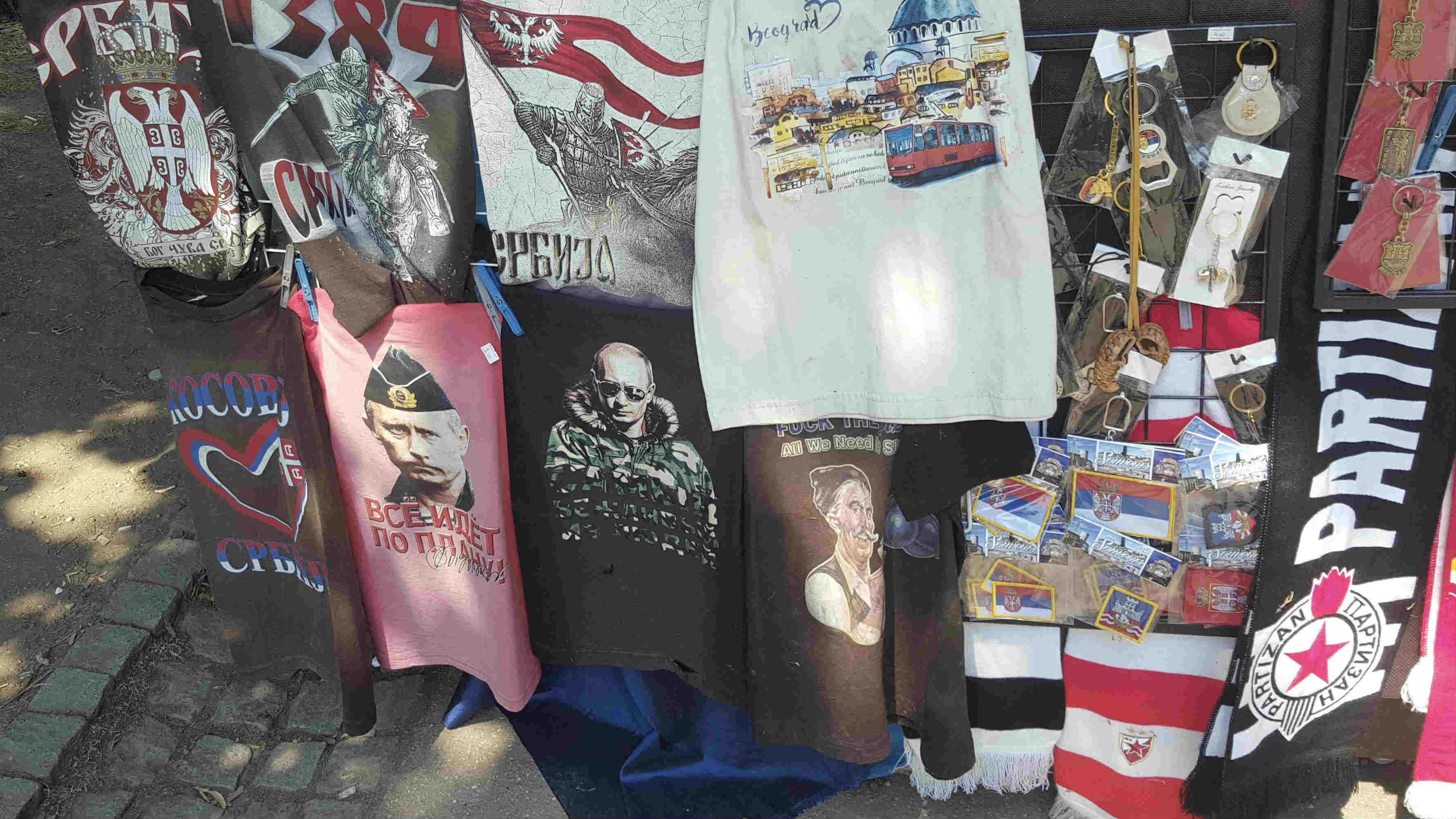 T-shirts bearing Russian President Vladimir Putin are commonplace on souvenir stalls throughout Belgrade
