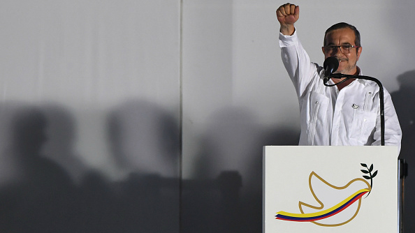 The leader of the FARC, Rodrigo Londoño delivers a speech after signing the historic peace agreement with the government
