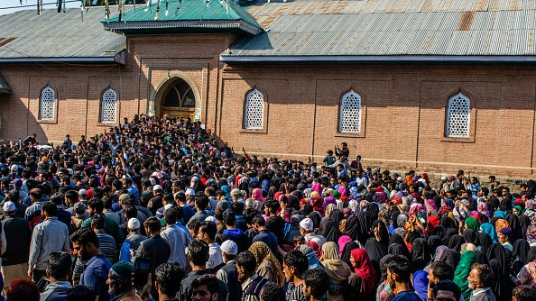 Funerals of Kashmiri militants regularly spark disturbances. Thousands attended the funeral procession of local militant Zubair Turray in Shopian district on April 1, 2018.