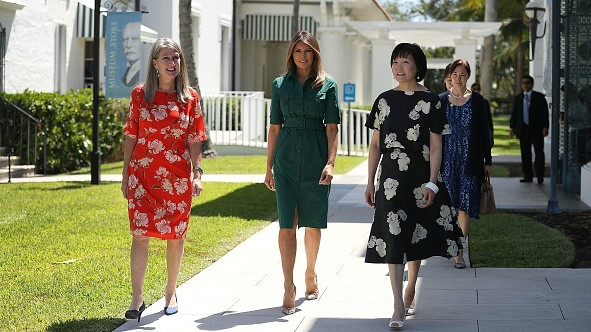 During the talks, U.S. first lady Melania Trump (C) entertained Japanese first lady Akie Abe (R), seen here visiting the Flagler Museum on April 18, 2018.