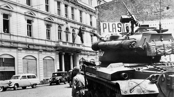 A tank guards Istanbul's police headquarters after the May 1960 coup, which overthrew Adnan Menderes