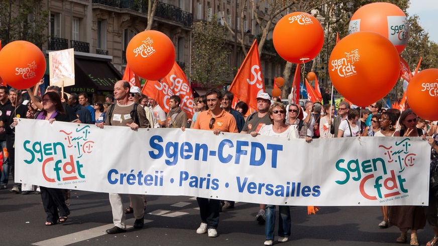 Unions like the General Union of National Education have been protesting against Mr. Macron's planned labour reforms